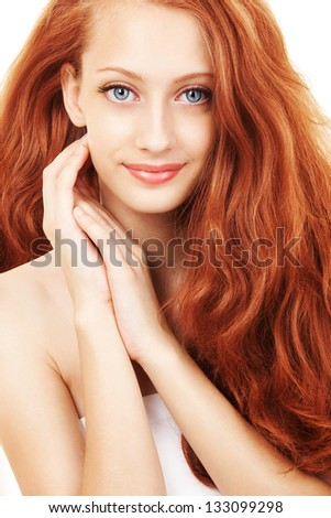 Portrait of a young woman with beautiful hair - stock photo