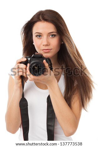 Portrait of a young woman with digital camera, isolated on white