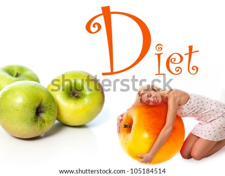 Portrait of a young woman with fruit. Concept - stock photo