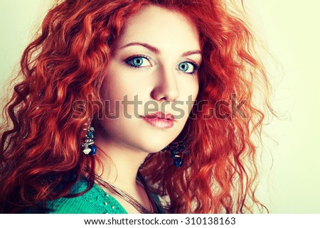 portrait young woman red hair blue stock photo royalty. Black Bedroom Furniture Sets. Home Design Ideas