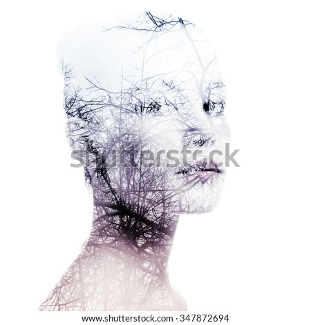 Portrait of a young woman with the effect of double exposure. - stock photo