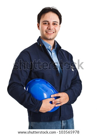 Portrait of a young worker - stock photo