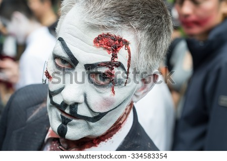 Portrait of a zombie at Sydney Zombie Walk in Sydney, AU, 31st October, 2015. Zombie Walk is an annual event where thousands of people get involved to raise awareness for Australia's Brain Foundation. - stock photo