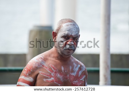 Portrait of Aboriginal man in Sydney, AU, 15th February, 2015. Aboriginal dancer performs at Darling Harbour in Sydney, Australia. - stock photo