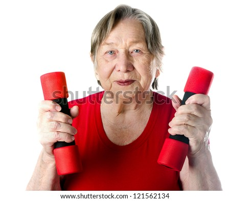 portrait of active senior woman isolated on white - stock photo
