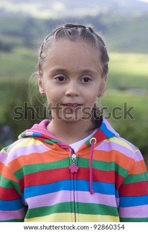 Portrait of Addorable Happy Beautiful Little Girl Outdoors - stock photo