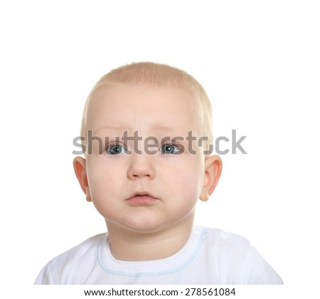 Portrait of adorable baby boy on a white background - stock photo