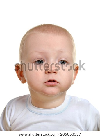 Portrait of adorable baby boy on white background