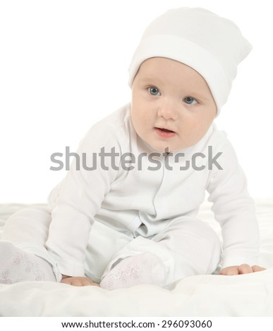 Portrait of adorable baby boy on white background - stock photo