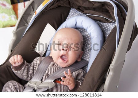 Portrait of Adorable Baby Boy Sucking - stock photo