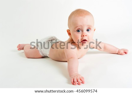 Portrait of adorable baby girl isolated on white background - stock photo