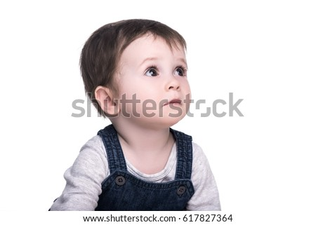portrait of adorable baby girl with big eyes, isolated on white. happy family concept