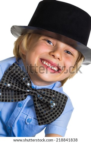 Portrait of adorable child dressed-up in top hat and bow tie - stock photo