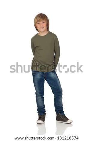 Portrait of adorable child standing isolated on a over white background - stock photo