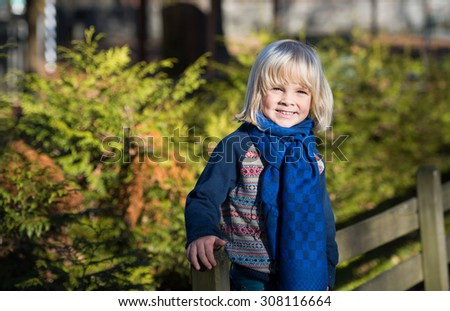 Portrait of adorable cute boy  in the beauty autumn park - stock photo