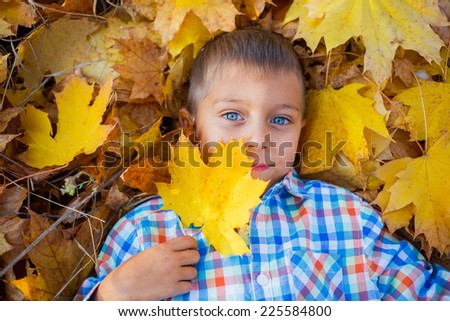 Portrait of Adorable cute boy lying on leaves in the beautiful  autumn park - stock photo