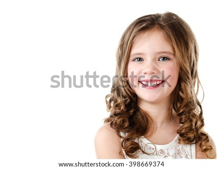 Portrait of adorable happy little girl isolated on a white - stock photo