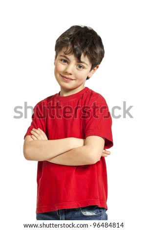 Portrait of adorable little boy, isolated on white background - stock photo