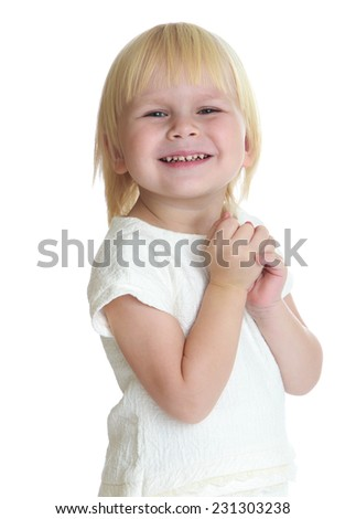 Portrait of adorable little girl blonde. Isolated on white background . - stock photo