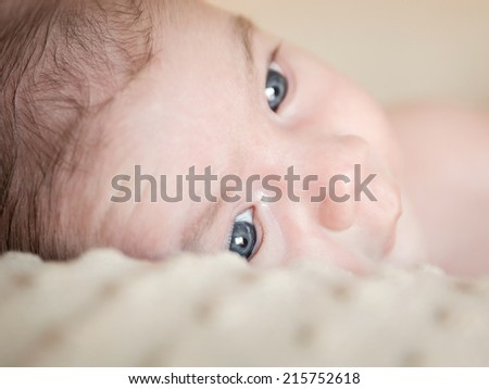 Portrait of adorable newborn baby boy with open eyes lying down over a blanket - stock photo