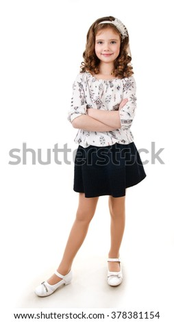 Portrait of adorable smiling  little girl isolated on a white - stock photo