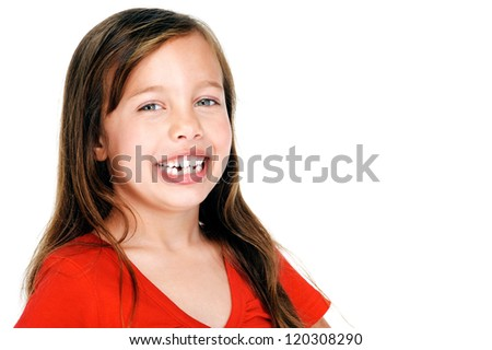 portrait of adorable young girl child posing for camera