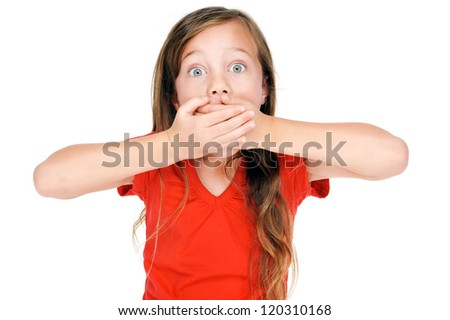 portrait of adorable young girl child posing for camera - stock photo