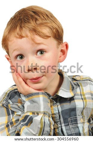 Portrait of adorable young happy boy - stock photo