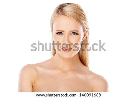 Portrait of adorable young woman over white background