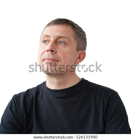 portrait of adult man isolated on white background - stock photo