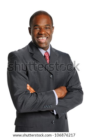 Portrait of African American businessman smiling isolated over white background