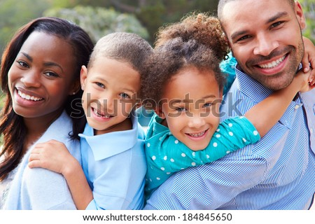Portrait Of African American Family In Countryside - stock photo