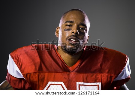 Portrait of African American football player