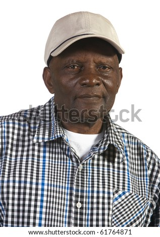 Portrait of African American man wearing hat. Shot against white background. - stock photo