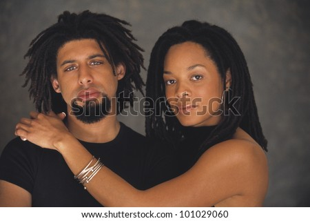Portrait of African couple hugging