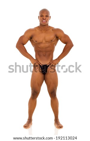 portrait of african muscle man posing on white background - stock photo