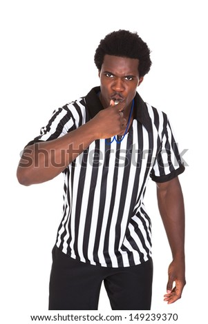 Portrait Of African Referee Isolated Over White Background - stock photo