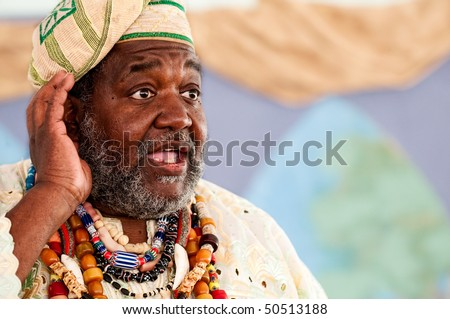 Portrait of African Storyteller giving a speech. - stock photo