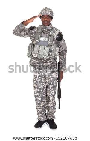 Portrait Of Afro-american Army Soldier Saluting Over White Background - stock photo