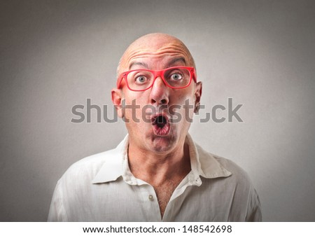 portrait of amazed businessman - stock photo