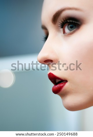 Portrait of amazing girl with clean skin and luscious lips - stock photo
