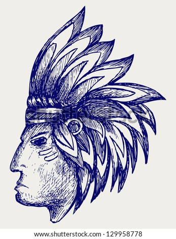 Portrait of american indian. Doodle style. Raster version - stock photo