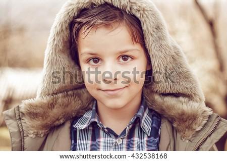 portrait of an adorable boy - stock photo