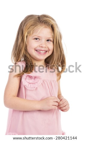 Portrait of an adorable  happy girl isolated over white background - stock photo