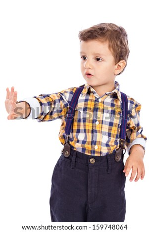 Portrait of an adorable little boy isolated on white background - stock photo
