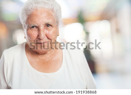 portrait of an adorable old woman face closeup