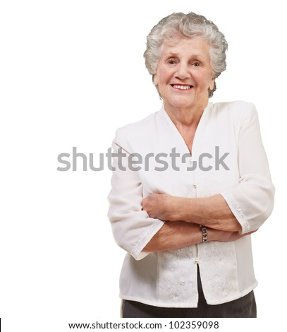 portrait of an adorable senior woman standing over a white background - stock photo