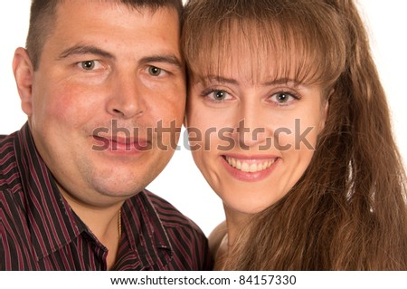 portrait of an adult couple on a white