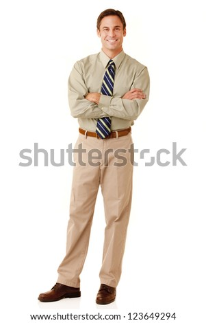 Portrait of an adult man wearing khakis and a shirt and tie looking at camera isolated on a white background - stock photo