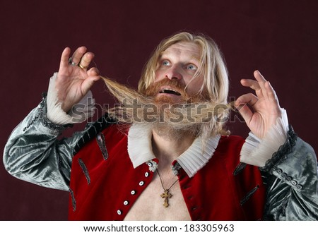 Portrait of an adult man with a long beard and mustache in a medieval suit gesturing with a strange look